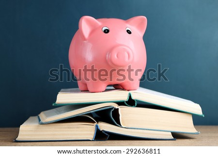 Piggy bank with books on blackboard background - stock photo