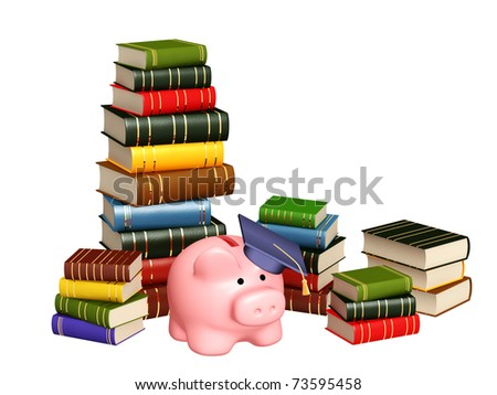 Piggy bank with cap and books. Objects isolated over white - stock photo