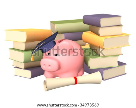 Piggy bank with cap and books. Objects over white - stock photo