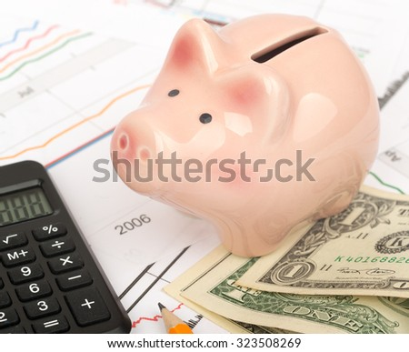 Piggy bank with cash and calculator on business documents background - stock photo