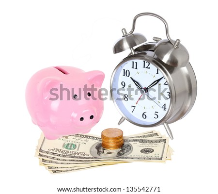 Piggy bank with clock and money isolated on a white studio background . concept . style money box - stock photo