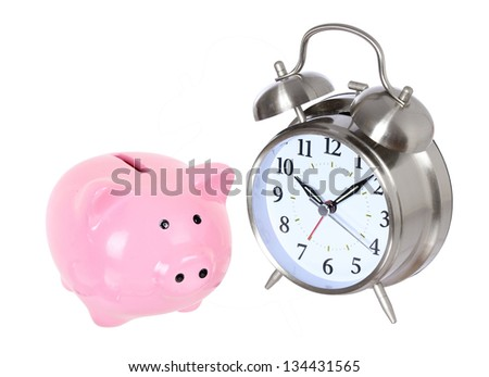 Piggy bank with clock isolated on a white studio background . concept . style money box - stock photo