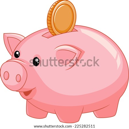 Piggy bank with coin - stock photo