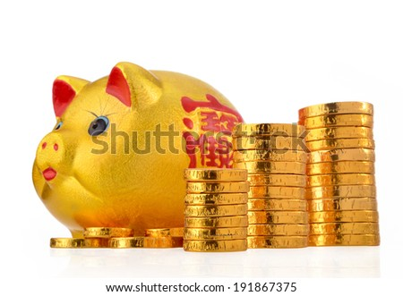 Piggy bank with coin stacks - concept of increase - stock photo
