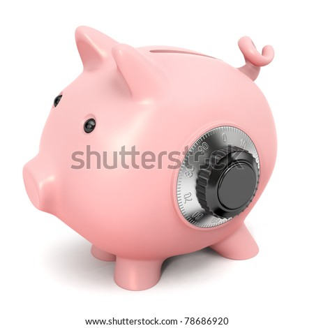 Piggy bank with combination lock, isolated on white