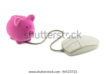 Piggy bank with computer mouse. Clipping path included. - stock photo