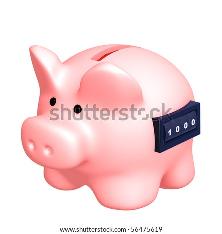 Piggy bank with counter. Isolated over white
