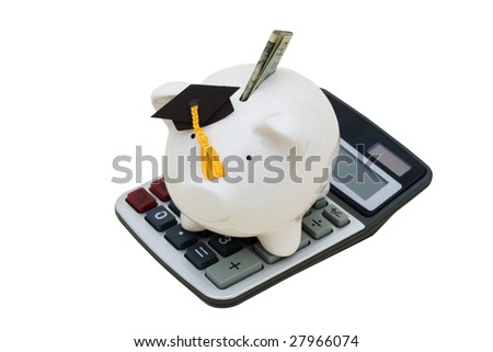 Piggy bank with dollar bill, wearing a graduation cap and calculator on white background, education savings with clipping path - stock photo