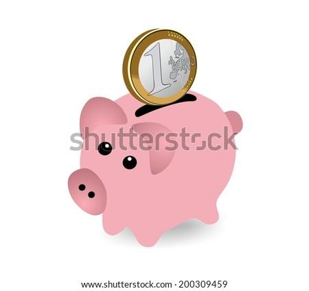 Piggy bank with euro coin - stock photo