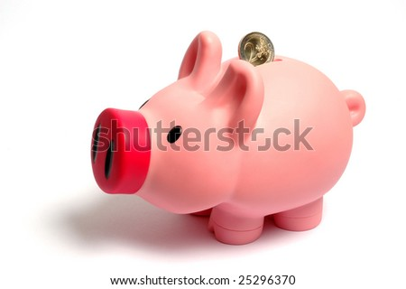 piggy bank with euro coin - stock photo