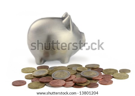Piggy bank with euro coins. Isolated on white.