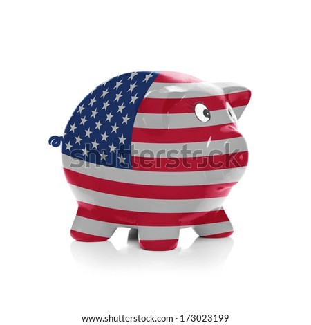 Piggy bank with flag painting over it isolated on white - United States of America - stock photo
