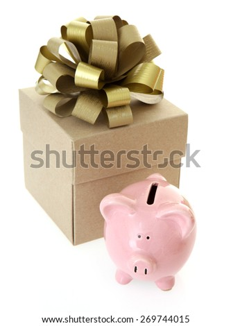 Piggy Bank with gift on White Background - stock photo