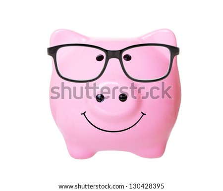 Piggy bank with glasses and smile (front view) style money box isolated on a white studio background - stock photo