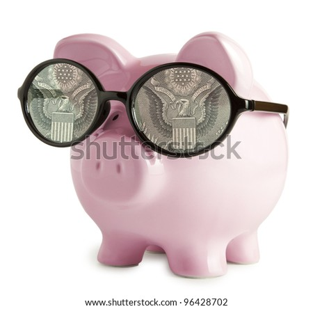 Piggy bank with glasses in isolated white background  Dollar eyes concepts - stock photo