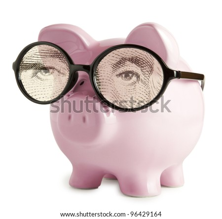 Piggy bank with glasses in isolated white background  George Washington eyes concepts - stock photo