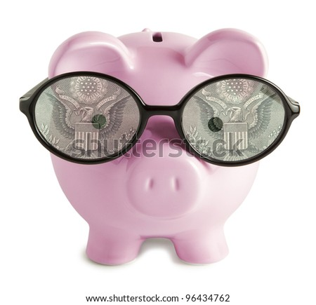 Piggy bank with glasses isolated  Dollar  eyes concepts - stock photo