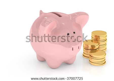 Piggy bank with gold coins isolated over a white background.