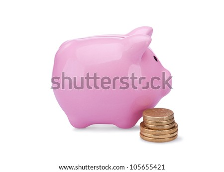 piggy bank with golden  coins isolated on white background - stock photo