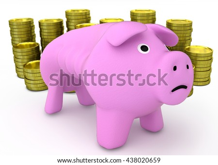 piggy bank with golden coins on white background. 3D render - stock photo