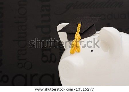 Piggy bank with graduation cap –cost of education - stock photo
