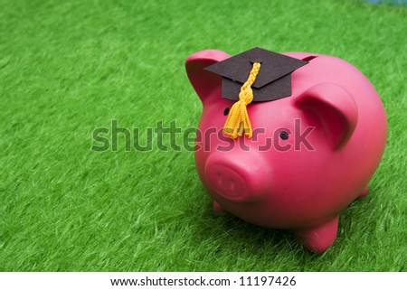 Piggy bank with graduation cap on grass with copy space - stock photo