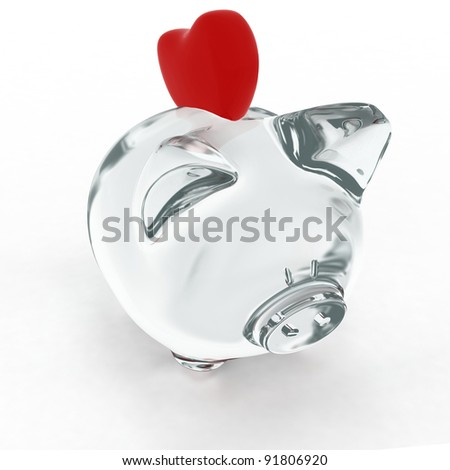 Piggy bank with heart. 3d render illustration. - stock photo