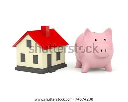 Piggy Bank with home isolated on white