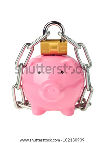 Piggy bank with lock and chain isolated on white background - stock photo
