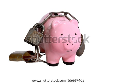 Piggy bank with locks and chains - stock photo