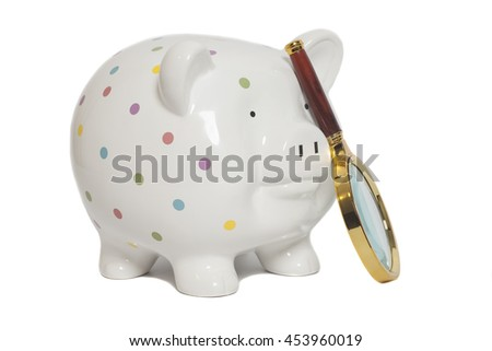 Piggy bank with magnifying glass isolated on white - stock photo