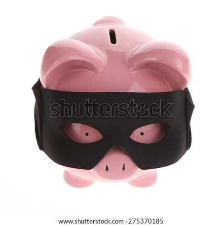 Piggy Bank with mask on White Background - stock photo