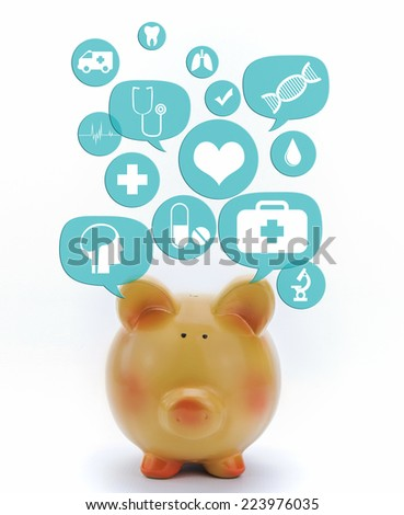 Piggy bank with medical icons in talk bubbles isolated - stock photo