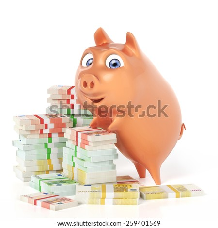 Piggy bank with money bundles - stock photo