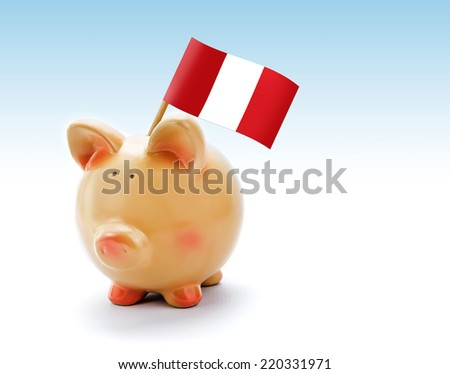 Piggy bank with national flag of Peru - stock photo