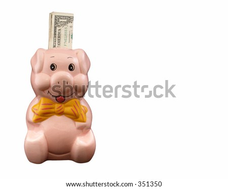 Piggy bank with one dollar note on a pure white background - stock photo