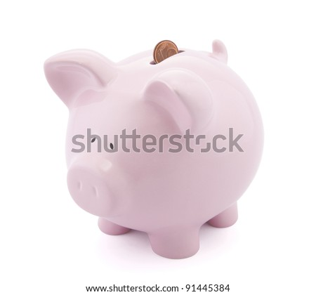 Piggy bank with one Euro cent in slot