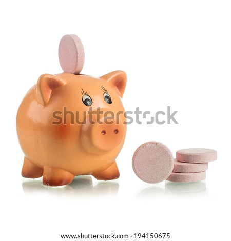 Piggy bank with pink food supplement tablet on the back over white background