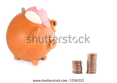 Piggy bank with quarter dollaar and coins
