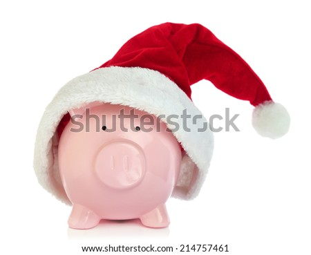 Piggy bank with Santa Claus hat on white background - stock photo