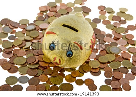 Piggy bank with small change, reserve at bad times - stock photo