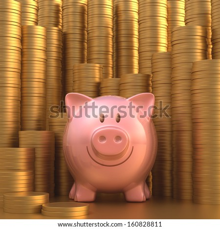 Piggy bank with stacks of gold coins in the background. - stock photo