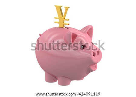 Piggy bank with symbol yen, 3D rendering isolated on white background - stock photo