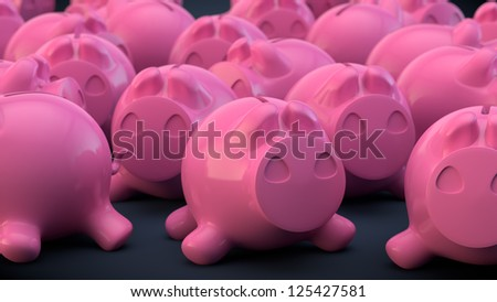 piggy bank with the small depth of field - stock photo