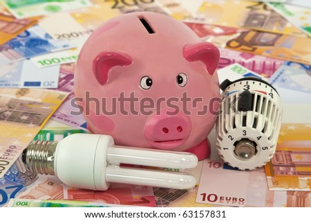 Piggy Bank with Thermostat and Energy Saving Bulb on Euro Banknotes - stock photo