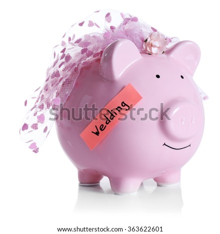 Piggy bank with wedding veil, isolated on white  - stock photo