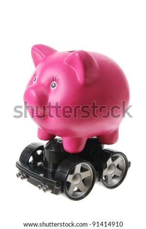 Piggy Bank with Wheels on White Background - stock photo