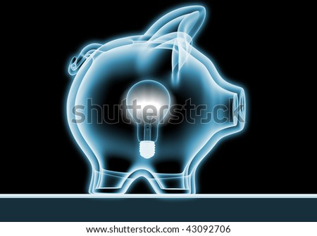 Piggy bank with x-rays - stock photo