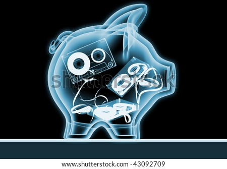 "Piggy bank with x-rays .""Old music collections"" - stock photo"