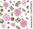 Piggy banks and American money flying over white background. - stock photo